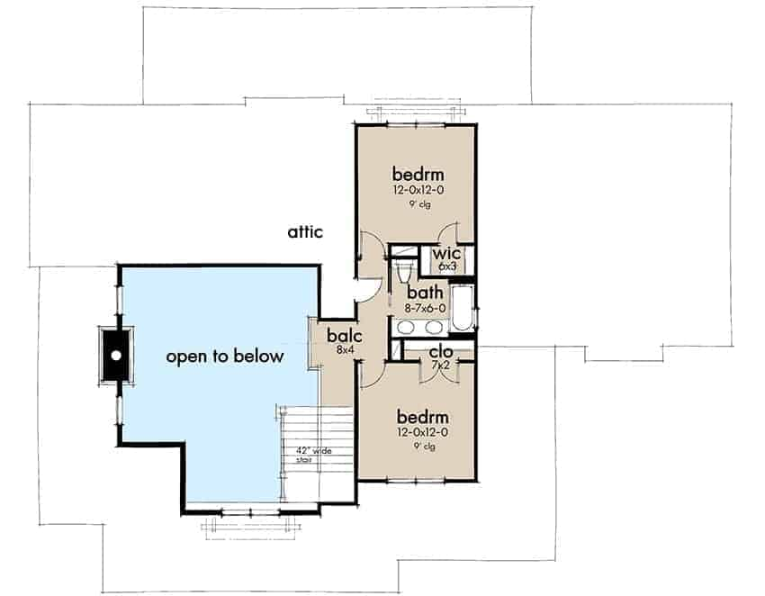 Second level floor plan with two more bedrooms separated by a bathroom.