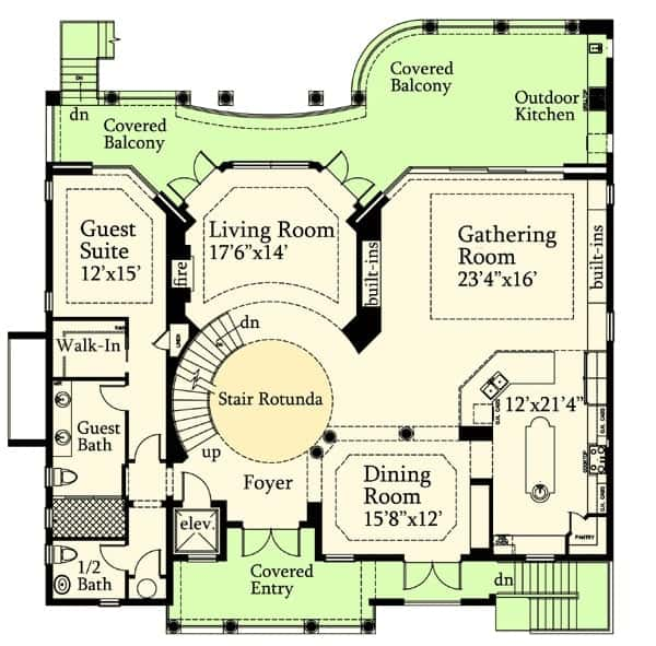 Second level floor plan with covered entry, formal dining room, gathering room, living room, guest suite, half bath and expansive covered balcony with outdoor kitchen.