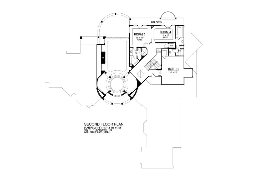 Second level floor plan with a large bonus room and two additional bedrooms connected by a balcony.