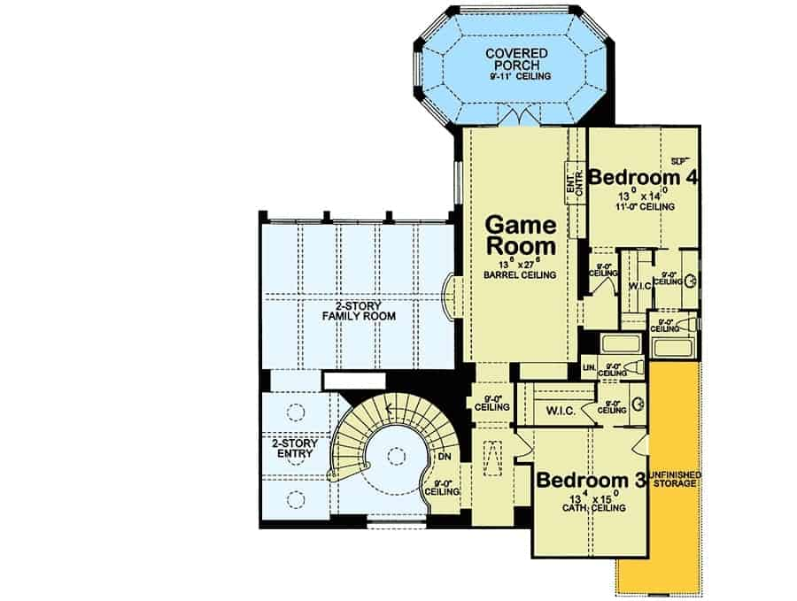 Second level floor plan with two additional bedrooms and a game room with a barrel ceiling and direct access to the covered porch.