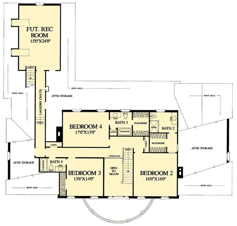 Second level floor plan with three bedrooms and a laundry chute connecting the future recreation room.