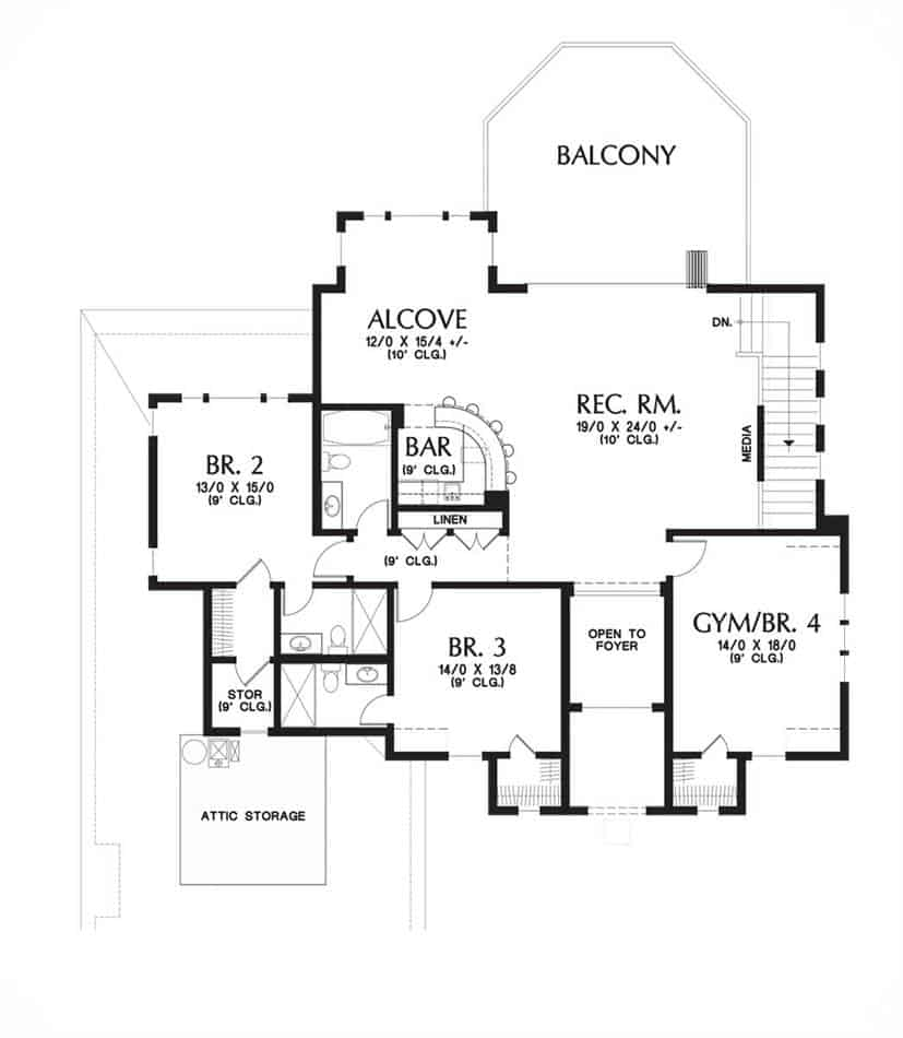 Second level floor plan with three additional bedrooms and a spacious recreation room with bar and access to the balcony.