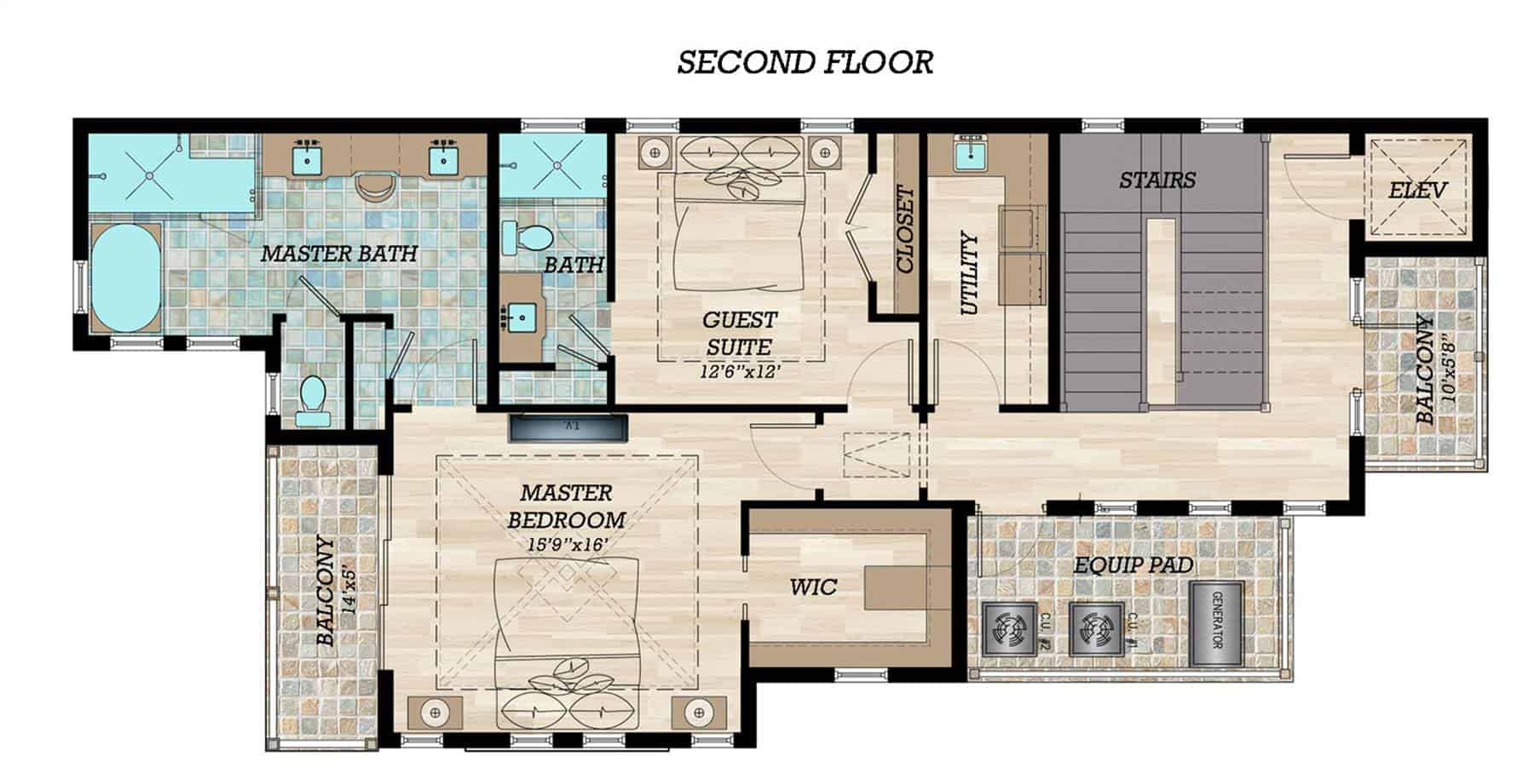 Second level floor plan with utility room, another guest suite and a primary bedroom with a luxury bath, spacious walk-in closet, and a private balcony.
