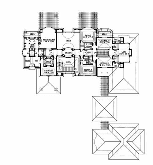 Second level floor plan with a bonus room, exercise room, three bedrooms, and a primary suite with its own private deck.