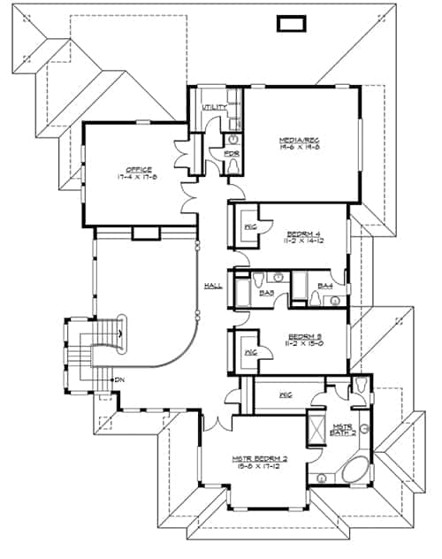 Second level floor plan with three additional bedrooms, home office, and a media or rec room.