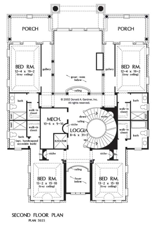 Second level floor plan with four bedrooms, porches and a mechanical room.
