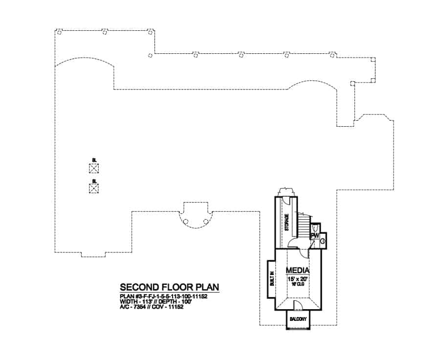 Second level floor plan with storage and media room with its own private balcony.