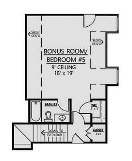 Second level floor plan with a bonus room that can be turned to another bedroom complete with a bath and walk-in closet.
