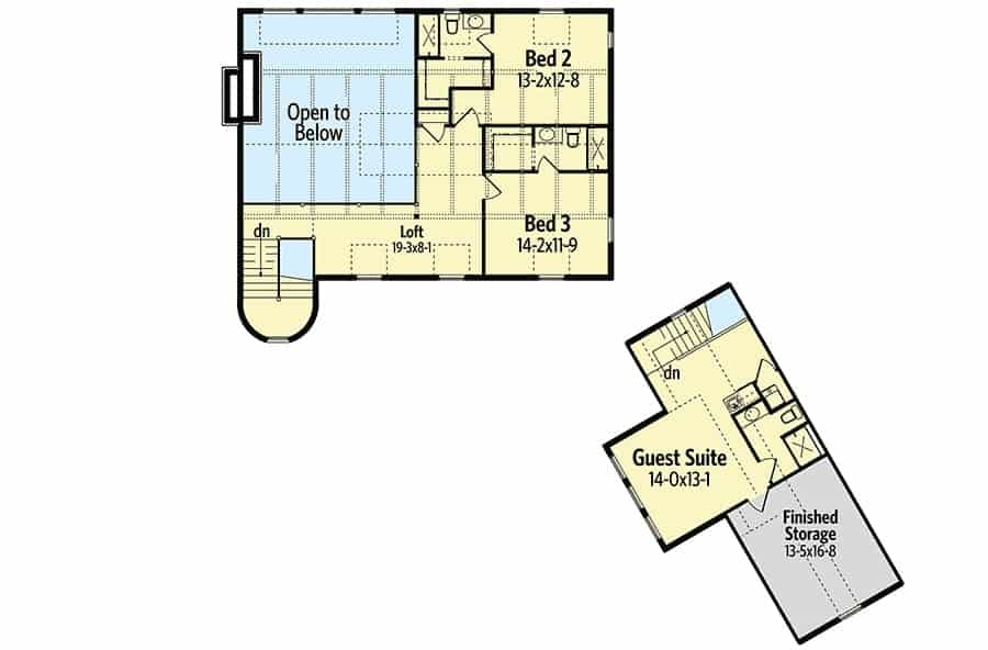 Second level floor plan with two bedrooms and a separate guest suite along with finished storage.