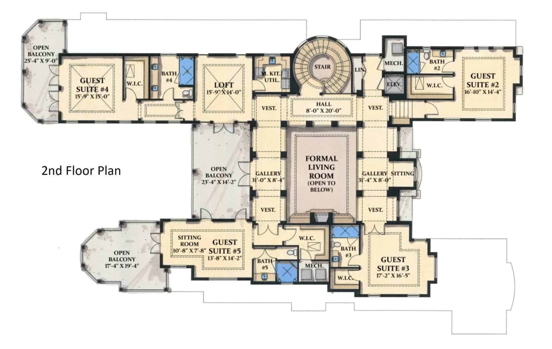Second level floor plan includes four guest suites with walk-in closets.