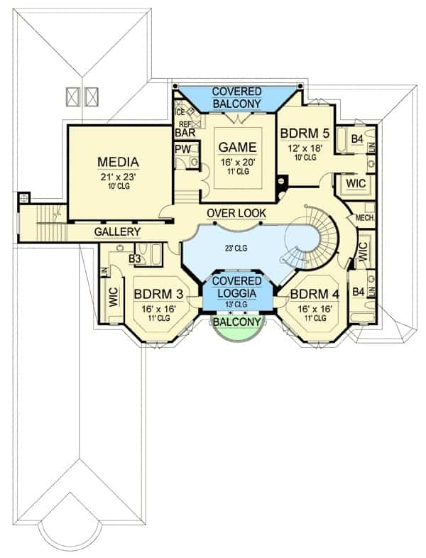 Second level floor plan with three more bedrooms, a media room, and a spacious game room with its own wet bar and covered balcony.