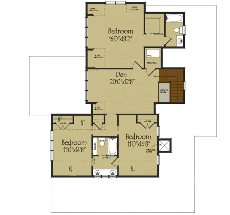 Second level floor plan with three bedrooms and a den.