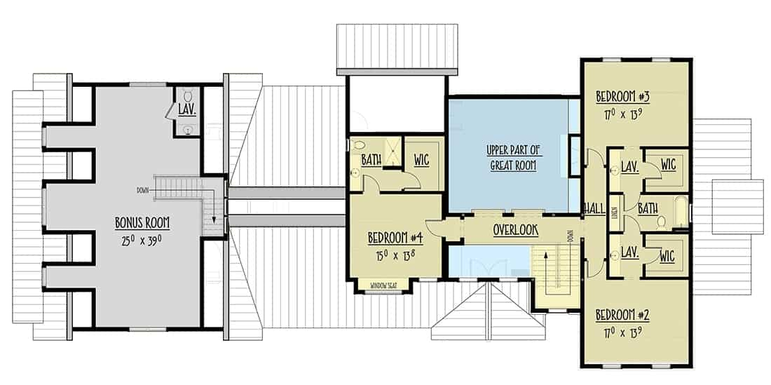 Second level floor plan with three additional bedrooms, each with its own bathrooms and closets, and a large bonus room over the garage.