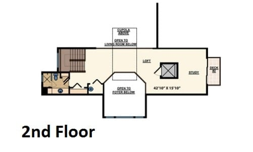 Second level floor plan with a loft, study, and a side deck.