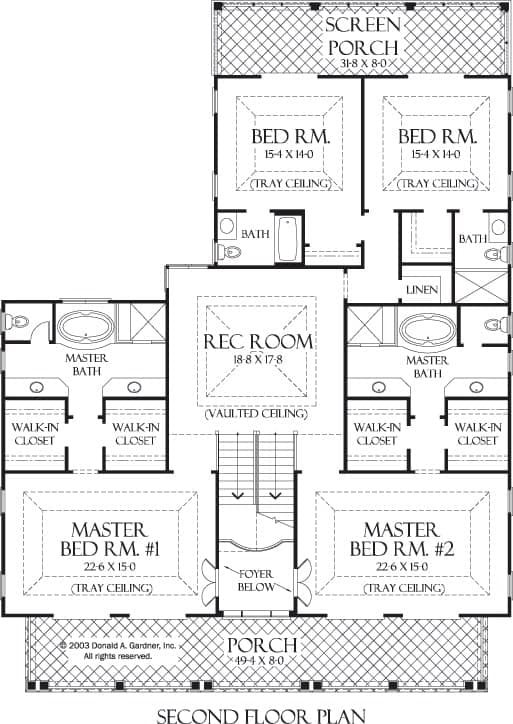 Second level floor plan with vaulted recreation room, two bedrooms connected by a screened porch, and two primary suites with separate closets, and private baths.