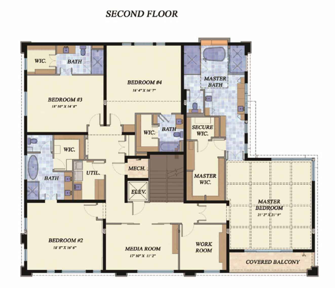 Second level floor plan with media room, workroom, three bedrooms, and a primary suite with a special secure area for a walk-in closet and its own private covered balcony.