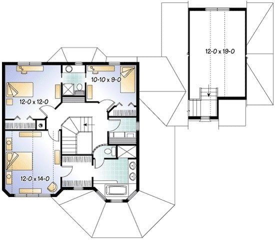 Second level floor plan with a primary suite and two bedrooms sharing a Jack and Jill bathroom.