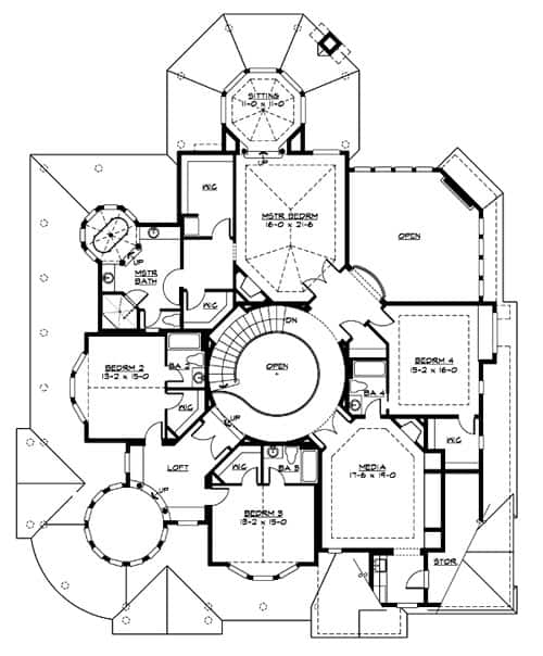 Second level floor plan with media room, three bedrooms, and a primary suite with a large walk-in closet and a circular sitting room.