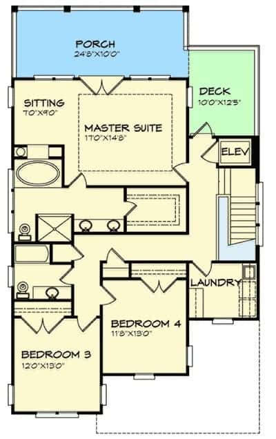 Second level floor plan with a laundry area, two additional bedrooms, and a primary suite with a sitting area and direct access to the rear porch.