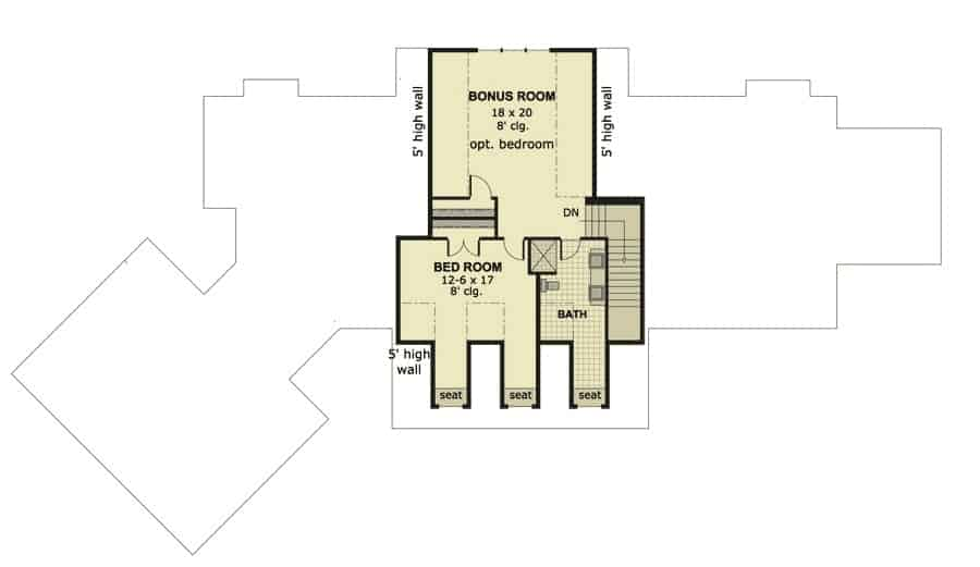 Second level floor plan with a bedroom and bathroom, and a bonus room that can be turned into another bedroom or a media room.