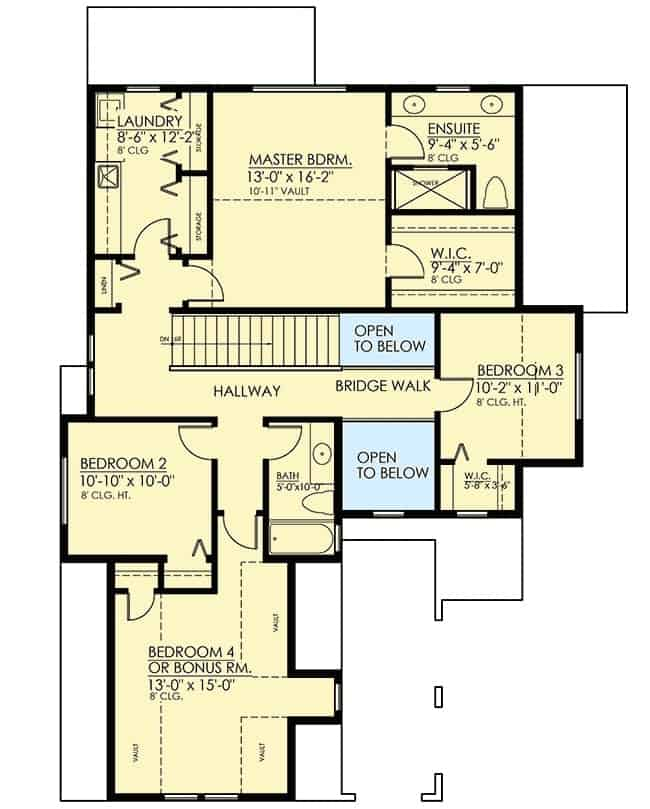 Second level floor plan with laundry area, two bedrooms, a vaulted primary bedroom, and a bonus room that you can turn into another bedroom.