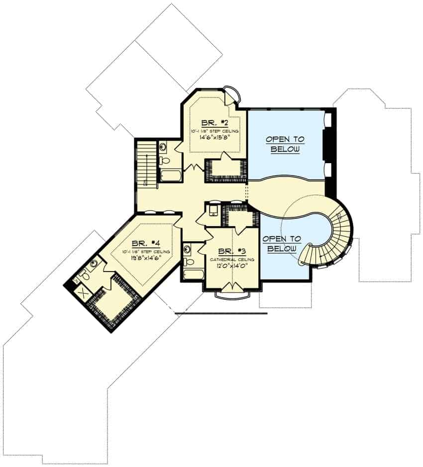Second level floor plan with three additional bedrooms, all with their own baths and walk-in closets.