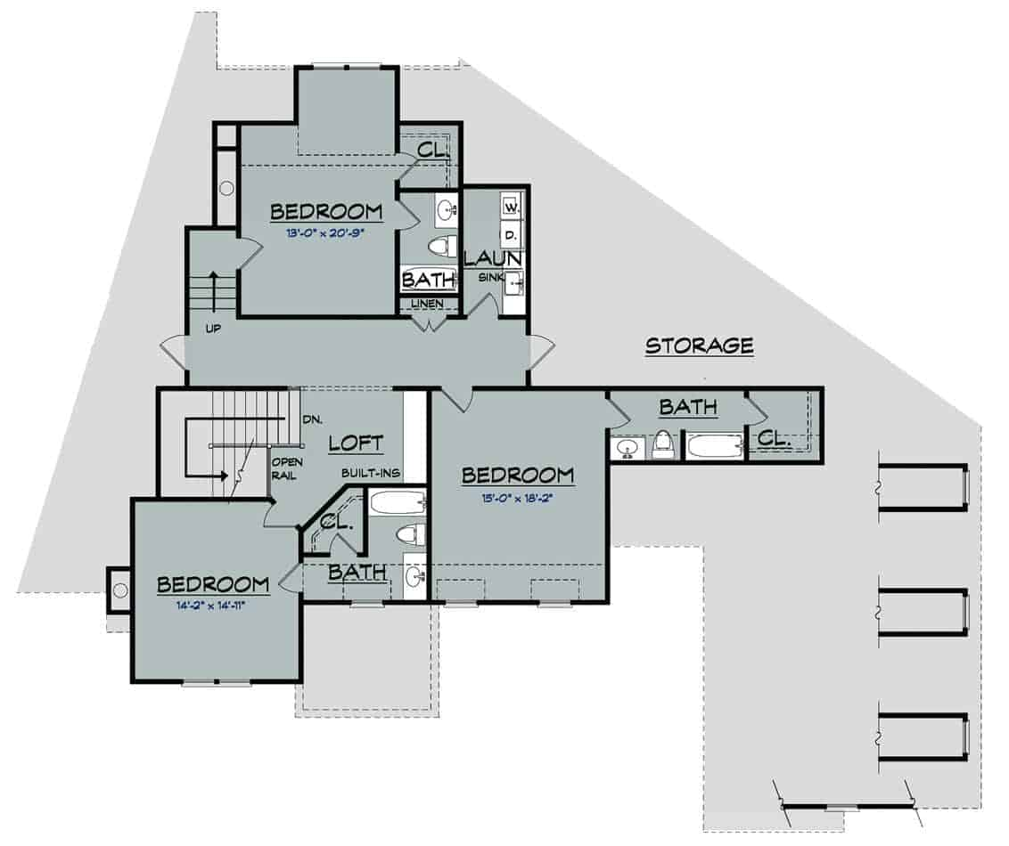 Second level floor plan with open loft, laundry room, and three bedrooms with their own bathrooms and walk-in closets.
