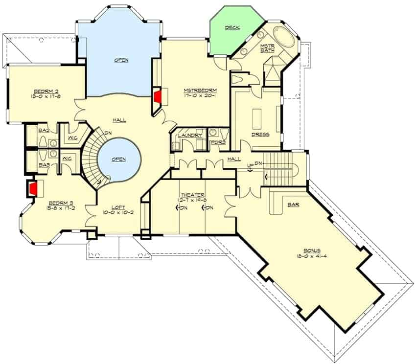 Second level floor plan with two bedrooms, a primary suite, home theater, and a large bonus room with a wet bar.