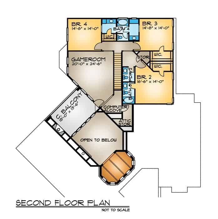 Second level floor plan with three more bedrooms and a game room that opens to the covered balcony.