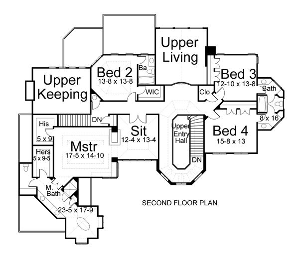 Second level floor plan with an upper keeping and living rooms, three bedrooms, and a primary suite with a spacious sitting room that can serve as a study or a nursery.