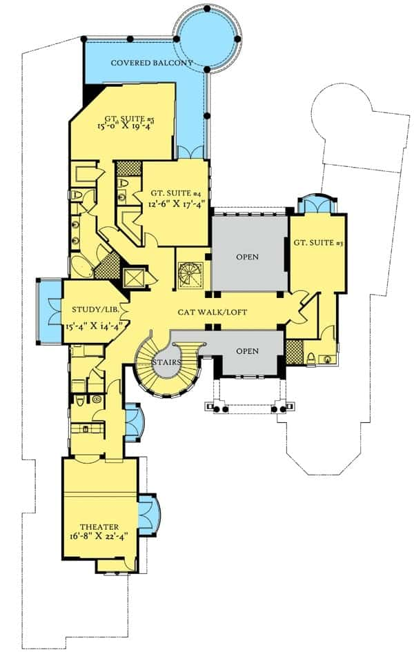Second level floor plan with study, theater, and three guest suites all with their own private balconies.