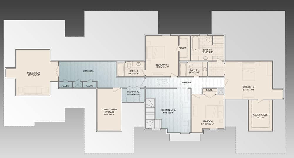 Second level floor plan with three bedrooms, a media room, and a conditioned storage room.