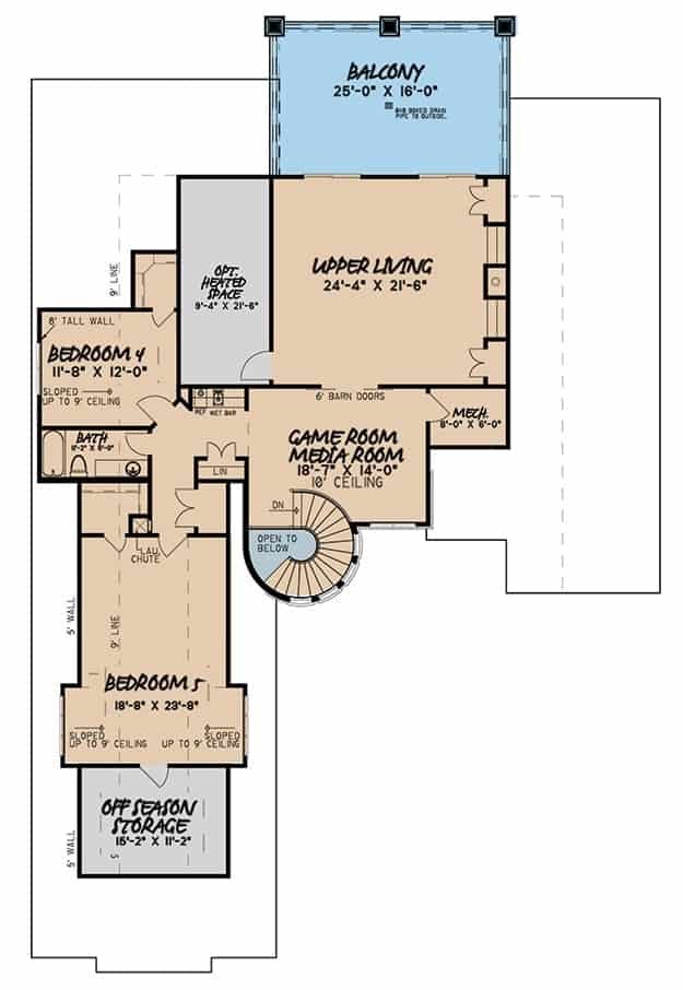 Second level floor plan with two additional bedrooms, game/media room, and upper living with an outdoor balcony.