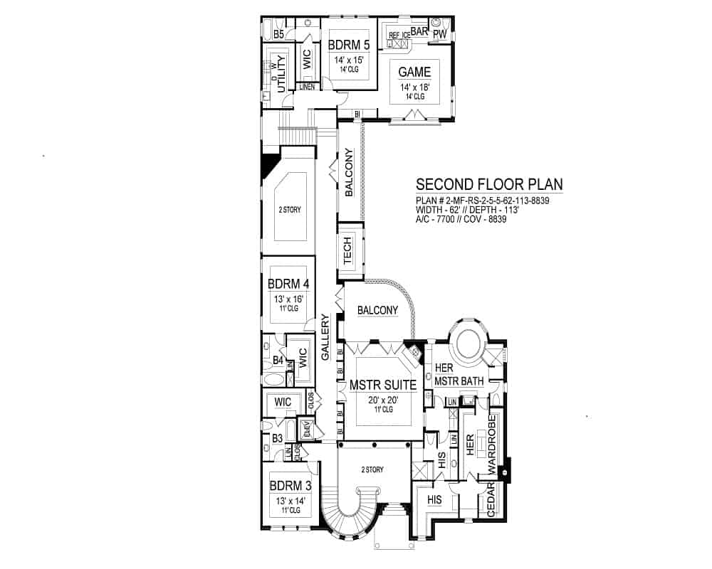 Second level floor plan with four additional bedrooms including the primary suite with separate bathrooms and wardrobes, and a game room with a bar and powder room.