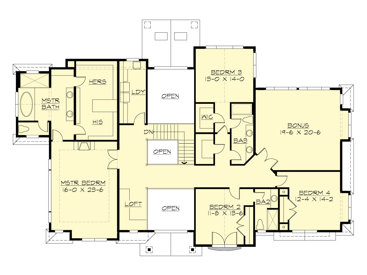 Second level floor plan with laundry area, a primary suite, three bedrooms, and a large bonus room which would make a great art studio.