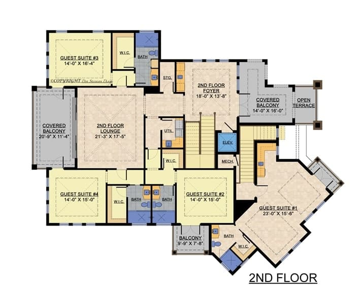 Second level floor plan with three guest suites, covered balconies, and an open terrace.