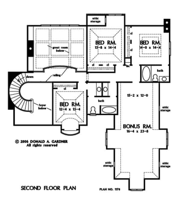 Second level floor plan with three additional bedrooms, a large bonus room with attic storage.
