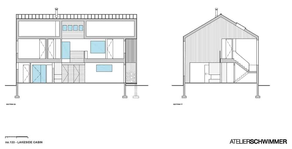 Section drawing of the Lakeside Cabin.