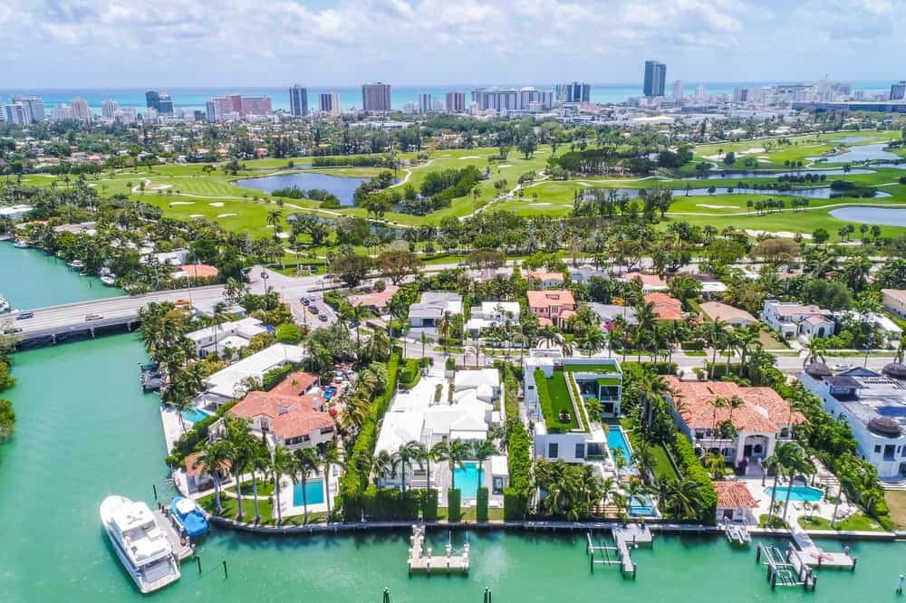 This aerial view of the house shows the upscale community of large houses with their own waterfront. Images courtesy of Toptenrealestatedeals.com.
