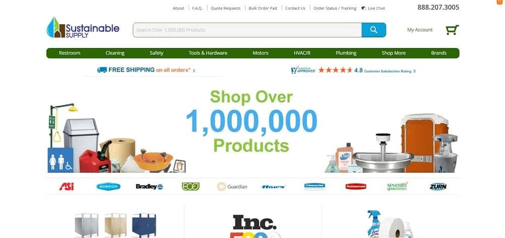 Screenshot of the Sustainable Supply Online Store homepage.