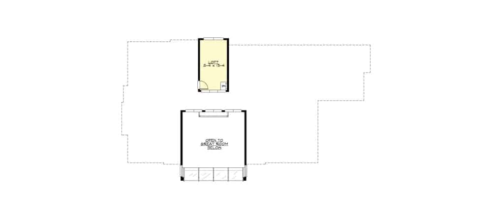 Third level floor plan with a loft.