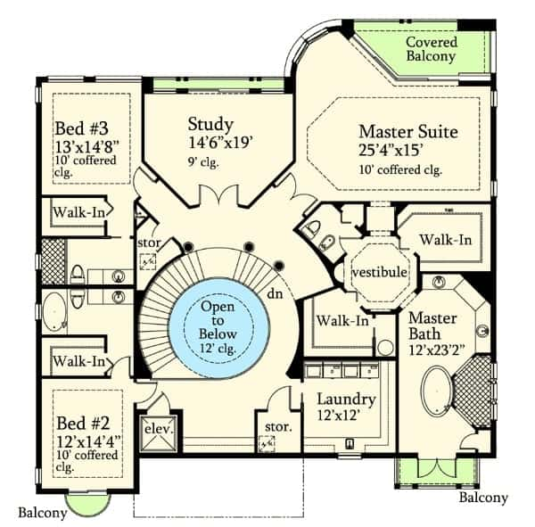 Third level floor plan with laundry room, study, two coffered bedrooms, and a primary bedroom with an opulent bath, separate his and her closets, and private balconies.