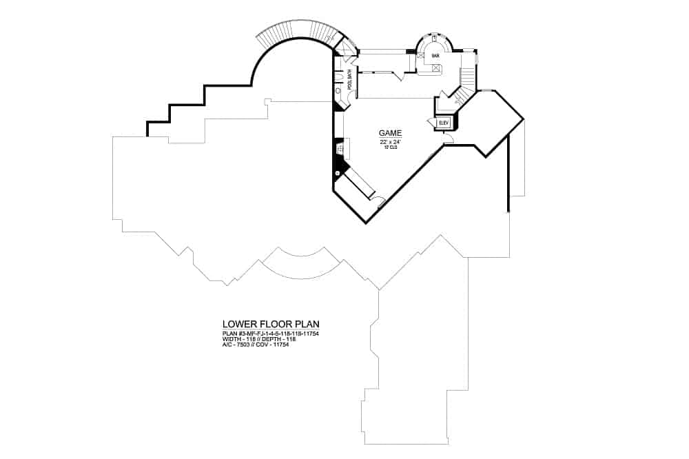 Lower level floor plan with a spacious game room, a pool bath, and a bar.