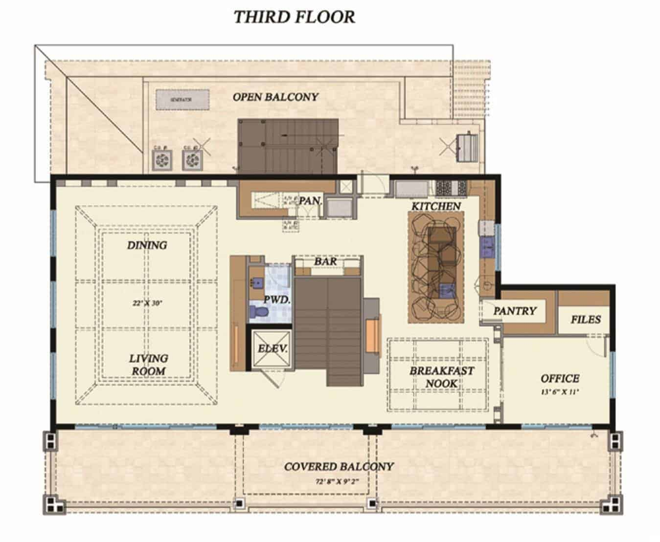 Third level floor plan with living room, dining room, kitchen, office, and kitchen with breakfast nook, two pantries, and a bar all accessible via a handy elevator.