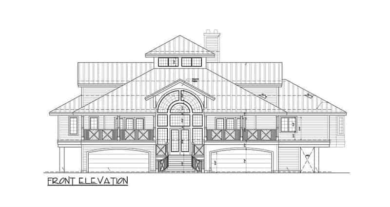 Front elevation sketch of the three-story The Ocean Dream House.