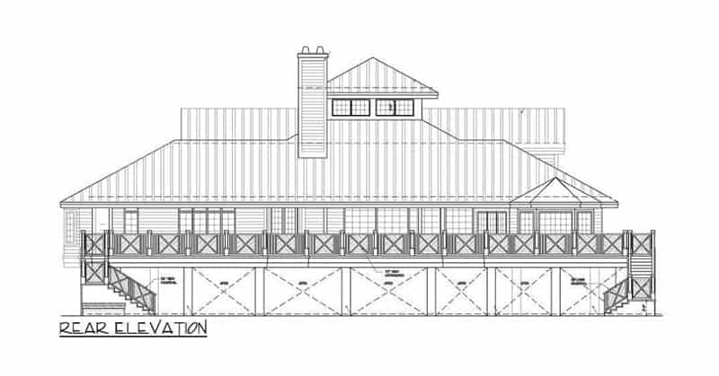 Rear elevation sketch of the three-story The Ocean Dream House.