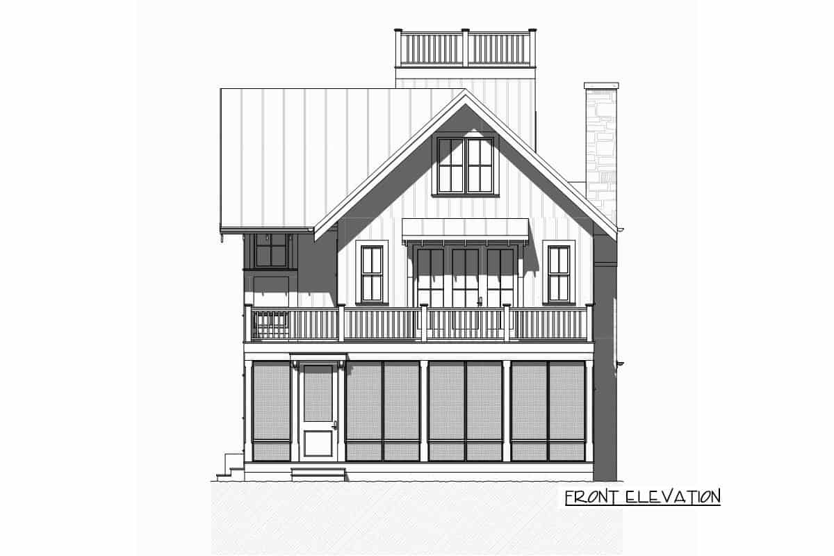 Front elevation sketch of the three-story beach house.