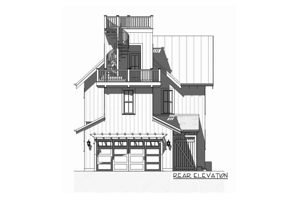 Rear elevation sketch of the three-story beach house.