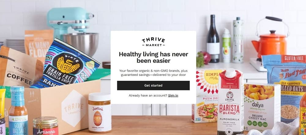 Screenshot of the Thrive Market Online Store homepage.