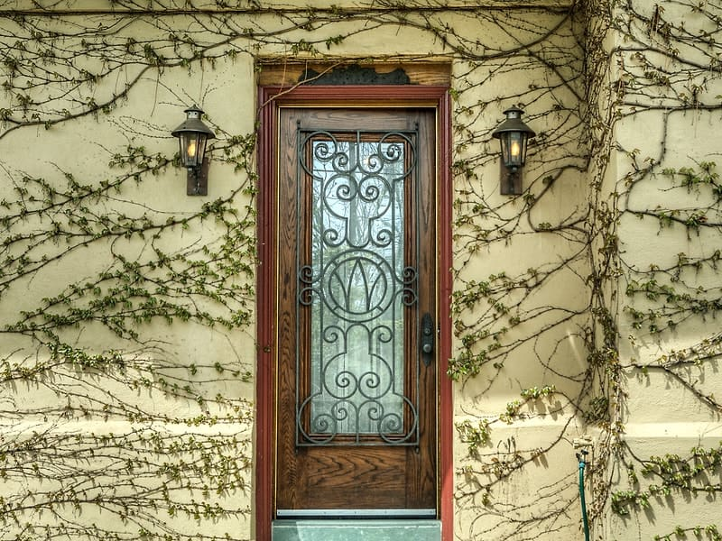 This charming door has antique wooden frames paired with an intricate wrought iron design on its frosted glass panel. It is is then complemented by the beautiful beige wall with creeping plants and antique wall-mounted lamps. Images courtesy of Toptenrealestatedeals.com.